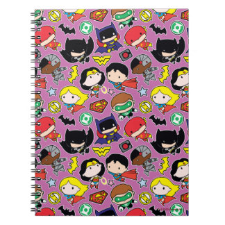 Chibi Justice League Pattern on Purple Notebook