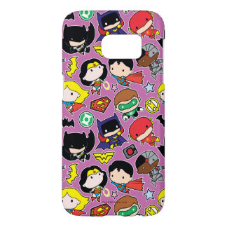 Chibi Justice League Pattern on Purple Samsung Galaxy S7 Case