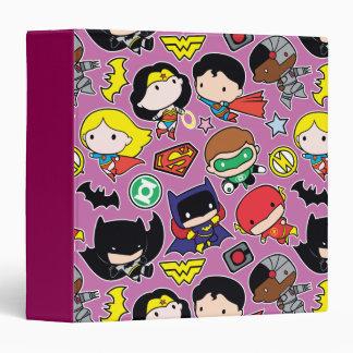 Chibi Justice League Pattern on Purple Vinyl Binder