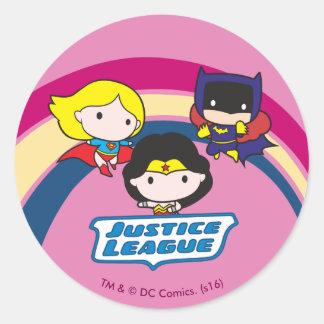 Chibi Justice League Rainbow Round Sticker