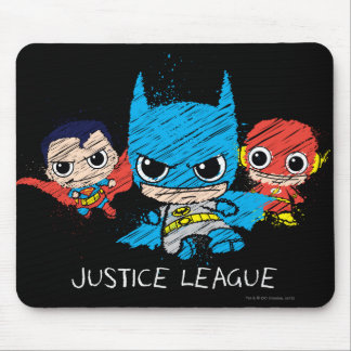 Chibi Justice League Sketch Mouse Pad
