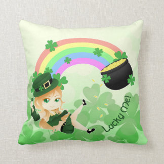 Chibi leprechaun girl throw pillow