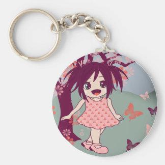 Chibi Manga Anime Little Kawaii Girl Keyring Basic Round Button Keychain