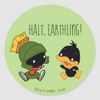 Chibi MARVIN THE MARTIAN™ & DAFFY DUCK™ Classic Round Sticker