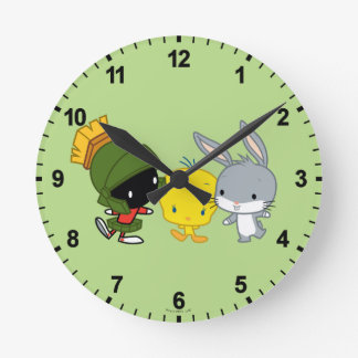 Chibi MARVIN THE MARTIAN™, TWEETY™, & BUGS BUNNY™ Round Clock