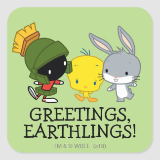 Chibi MARVIN THE MARTIAN™, TWEETY™, & BUGS BUNNY™ Square Sticker
