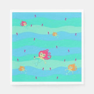 Chibi Mermaids & Seahorses paper napkins
