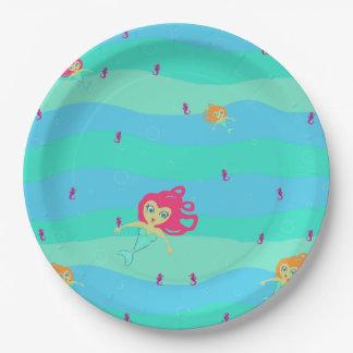 Chibi Mermaids & Seahorses Paper Plate
