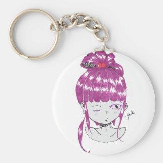 chibi pink hair teen girl basic round button keychain
