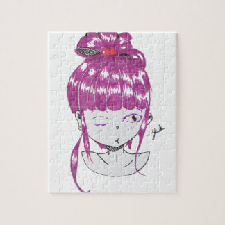 chibi pink hair teen girl jigsaw puzzle