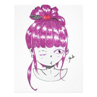 chibi pink hair teen girl letterhead
