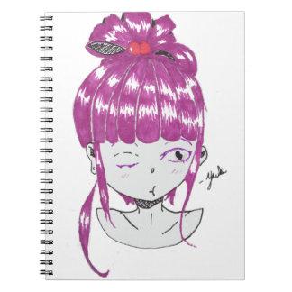 chibi pink hair teen girl spiral note books