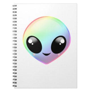 Chibi Rainbow Alien Spiral Notebook