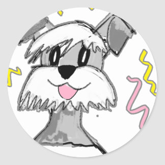 Chibi Schnauzer Classic Round Sticker
