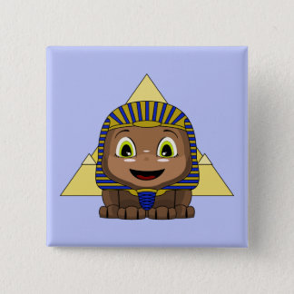 Chibi Sphinx With Pyramids 2 Inch Square Button