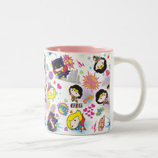 Chibi Super Heroine Pattern Two-Tone Coffee Mug