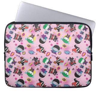 Chibi Super Villain Action Pattern Laptop Sleeve