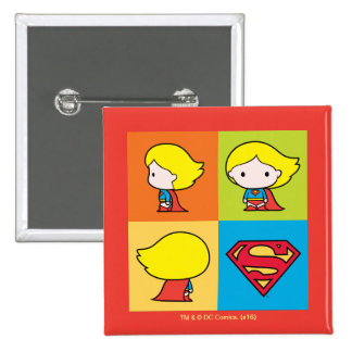 Chibi Supergirl Character Turnaround 2 Inch Square Button