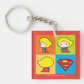 Chibi Supergirl Character Turnaround Double-Sided Square Acrylic Keychain
