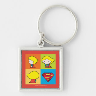 Chibi Supergirl Character Turnaround Silver-Colored Square Keychain