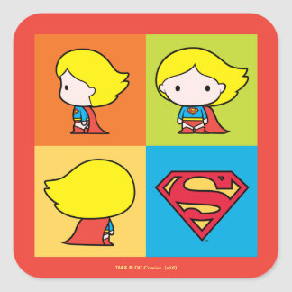 Chibi Supergirl Character Turnaround Square Sticker