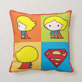Chibi Supergirl Character Turnaround Throw Pillow