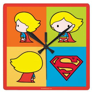 Chibi Supergirl Character Turnaround Wallclocks