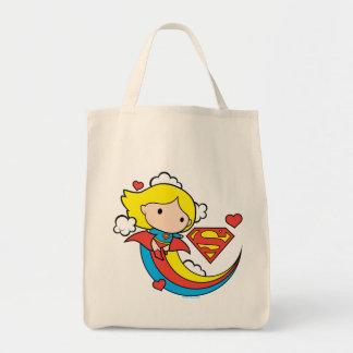 Chibi Supergirl Flying Rainbow