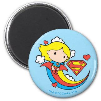 Chibi Supergirl Flying Rainbow 2 Inch Round Magnet