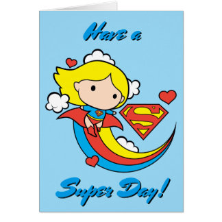 Chibi Supergirl Flying Rainbow Card