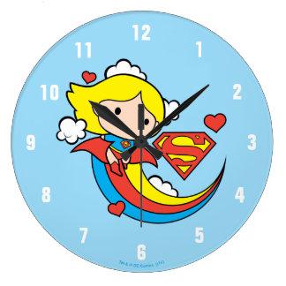 Chibi Supergirl Flying Rainbow Clock