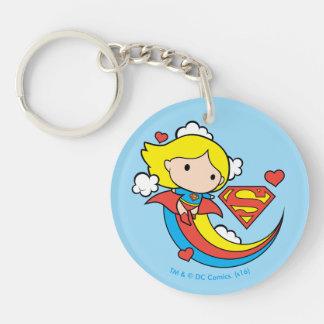 Chibi Supergirl Flying Rainbow Double-Sided Round Acrylic Keychain