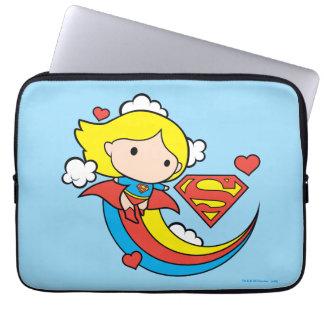 Chibi Supergirl Flying Rainbow Laptop Sleeve