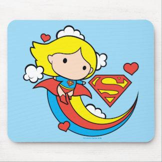 Chibi Supergirl Flying Rainbow Mouse Pad