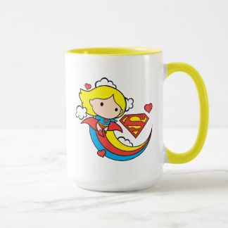 Chibi Supergirl Flying Rainbow Mug