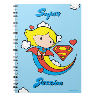 Chibi Supergirl Flying Rainbow Notebook