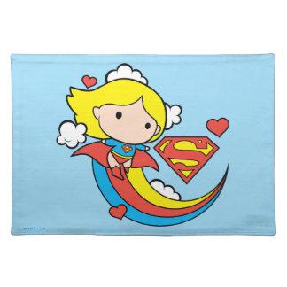 Chibi Supergirl Flying Rainbow Placemat