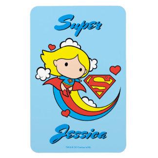 Chibi Supergirl Flying Rainbow Rectangular Photo Magnet