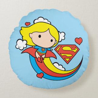 Chibi Supergirl Flying Rainbow Round Pillow