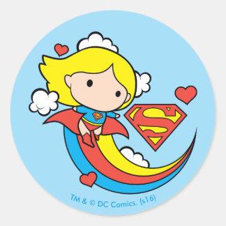 Chibi Supergirl Flying Rainbow Round Sticker