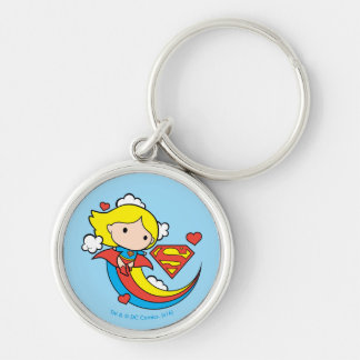 Chibi Supergirl Flying Rainbow Silver-Colored Round Keychain
