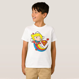 Chibi Supergirl Flying Rainbow T-Shirt