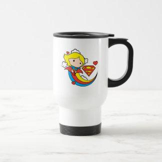 Chibi Supergirl Flying Rainbow Travel Mug