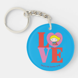 Chibi Supergirl LOVE Double-Sided Round Acrylic Keychain