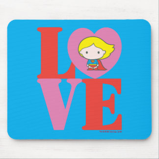 Chibi Supergirl LOVE Mouse Pad