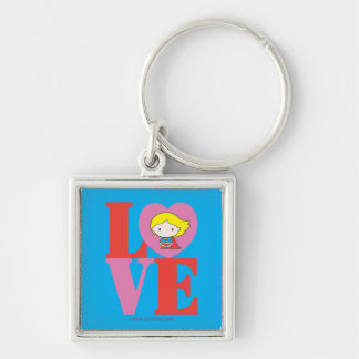 Chibi Supergirl LOVE Silver-Colored Square Keychain