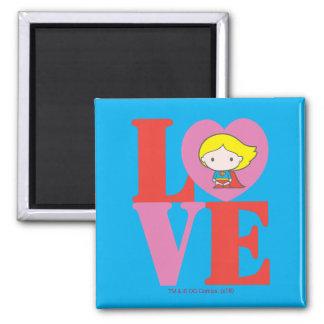 Chibi Supergirl LOVE Square Magnet