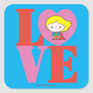 Chibi Supergirl LOVE Square Sticker