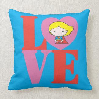 Chibi Supergirl LOVE Throw Pillow