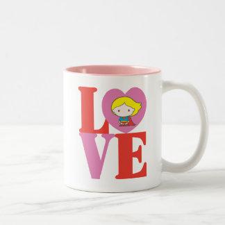 Chibi Supergirl LOVE Two-Tone Coffee Mug